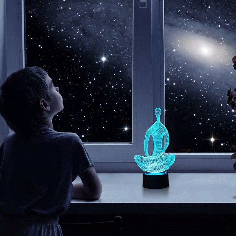 Медитация 3D иллюзия лампа ночник, 7 цветов Изменение переключатель настольная лампа украшения
