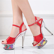 High Quality Female Model T Station Catwalk Sandals Sexy Crystal Shoes 15CM High Heels Fashion Women's Open Toe Stripper Shoes