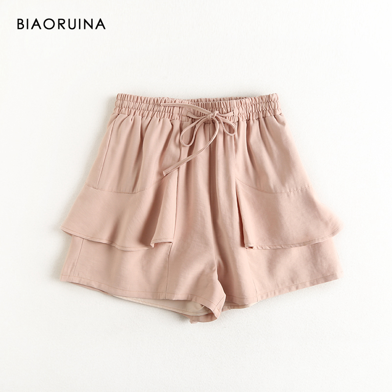 BIAORUINA Women's Solid Color Ruffles High Waist Casual Short With Lining Female Summer Sweet Short Streetwear New Arrival