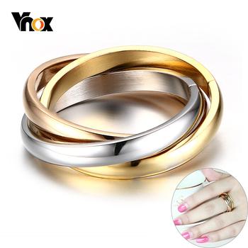 Vnox Classic 3 rundy zestawy pierścionków kobiety ze stali nierdzewnej ślub zaręczyny kobiet biżuteria na palce tanie i dobre opinie CN (pochodzenie) STAINLESS STEEL Metal Klasyczny Zespoły weselne ROUND Wszystko kompatybilny fashion 2016 R-054 Brak Moda