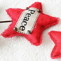 Merry Christmas Large Wooden Pine Pentagram Decoration Needles Burlap Red Letter Star Xmas Gift Ornaments Festival Accessories