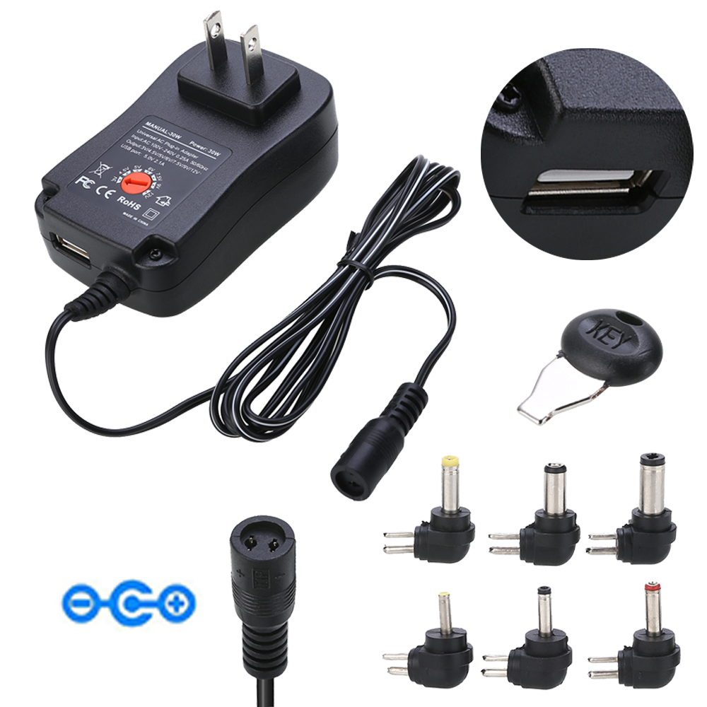 AC DC Adjustable Multi Voltage Power Supply <font><b>Adapter</b></font> Electrical Switching Power <font><b>Adapters</b></font> <font><b>3V</b></font>/4.5V/5V/6V/7.5V/9V/12V image