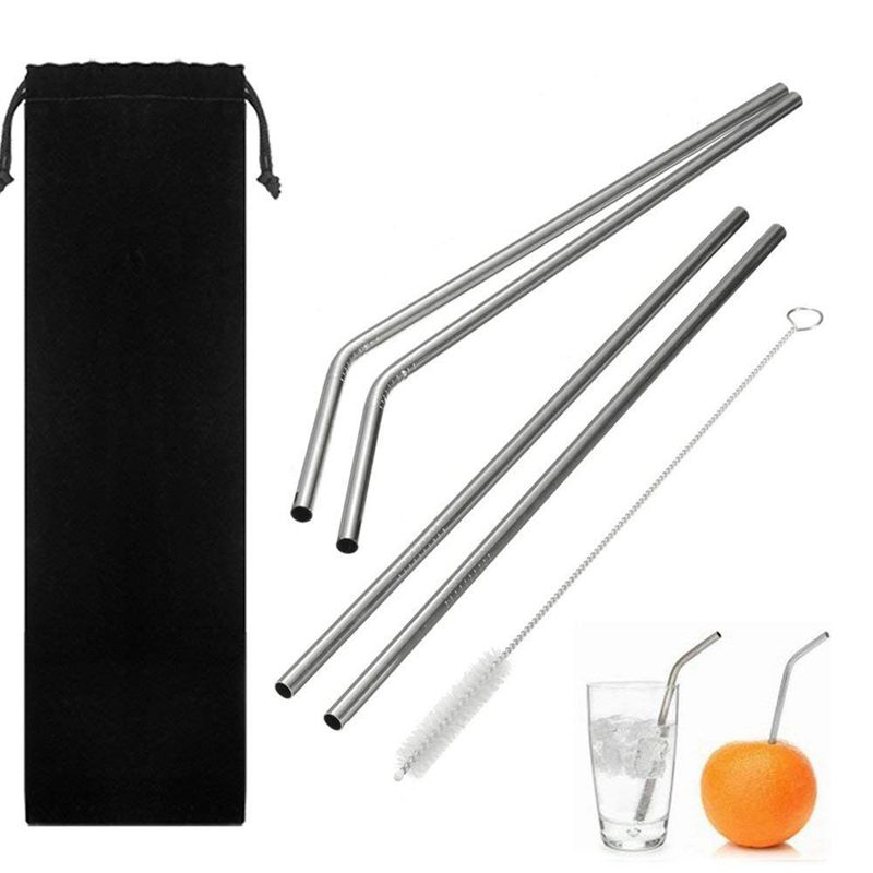 Big deal Drinking Straws Reusable Stainless Steel Straws Set of 5, 2pcs 10.5 inch Bendy Straws+ 2pcs 10.5 inch Straight Straws+1 image