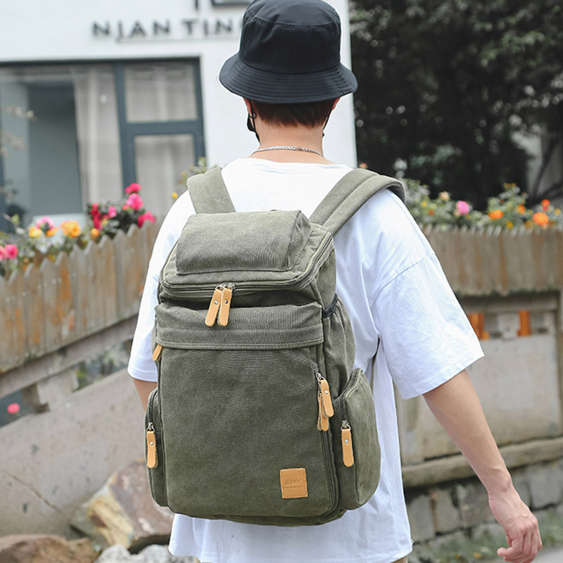 Image 3 - Wellvo Top Quality Canvas Large Capacity Travel Backpacks Men 