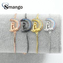Wholesale Copper Micro Pave CZ MoonLover Shape Charm Bracelet In 4Colors Top Quality Plating of 5pcs, B0059