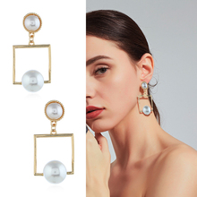 Luokey Fashion Geometric Minimalist Jewelry For Women Imitation Simulated Pearl Earrings Luxury Wedding Statement Dangle Earring lost lady luxury natural shell earring for women pearl drop earring statement geometric earrings 2019 gold color fashion jewelry