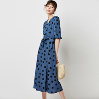 Retro Polka Dot Midi Party Dress With Lanter Sleeve AE80301 2