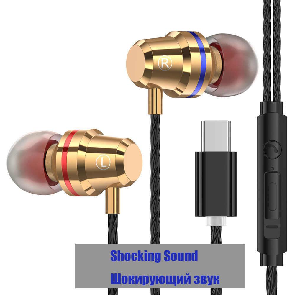 USB Type-C Oortelefoon Wired Metal Met Microfoon Type C headset USB-C Oordopjes Voor LeEco Le 2/Max /Pro voor Xiaomi
