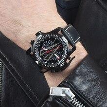 שונית טייגר/RT חדש הגעה כל שחור מותג יוקרה עמיד למים שעון יד נירוסטה הכרונוגרף Relogio Masculino RGA3591