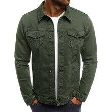 Брендовые облегающие мужские узкие джинсы, куртки, модная Уличная Повседневная джинсовая куртка с отложным воротником, однобортные однотонные джинсовые пальто