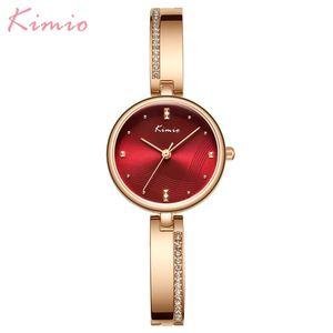 Image 1 - KIMIO New 2020 Women Watches Luxury Rhinestone Rose Gold Ladies Watch Stainless Steel Women Bracelet Watch Quartz Female Clock
