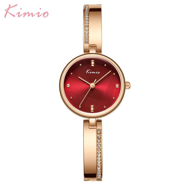 KIMIO New 2020 Women Watches Luxury Rhinestone Rose Gold Ladies Watch Stainless Steel Women Bracelet Watch Quartz Female Clock