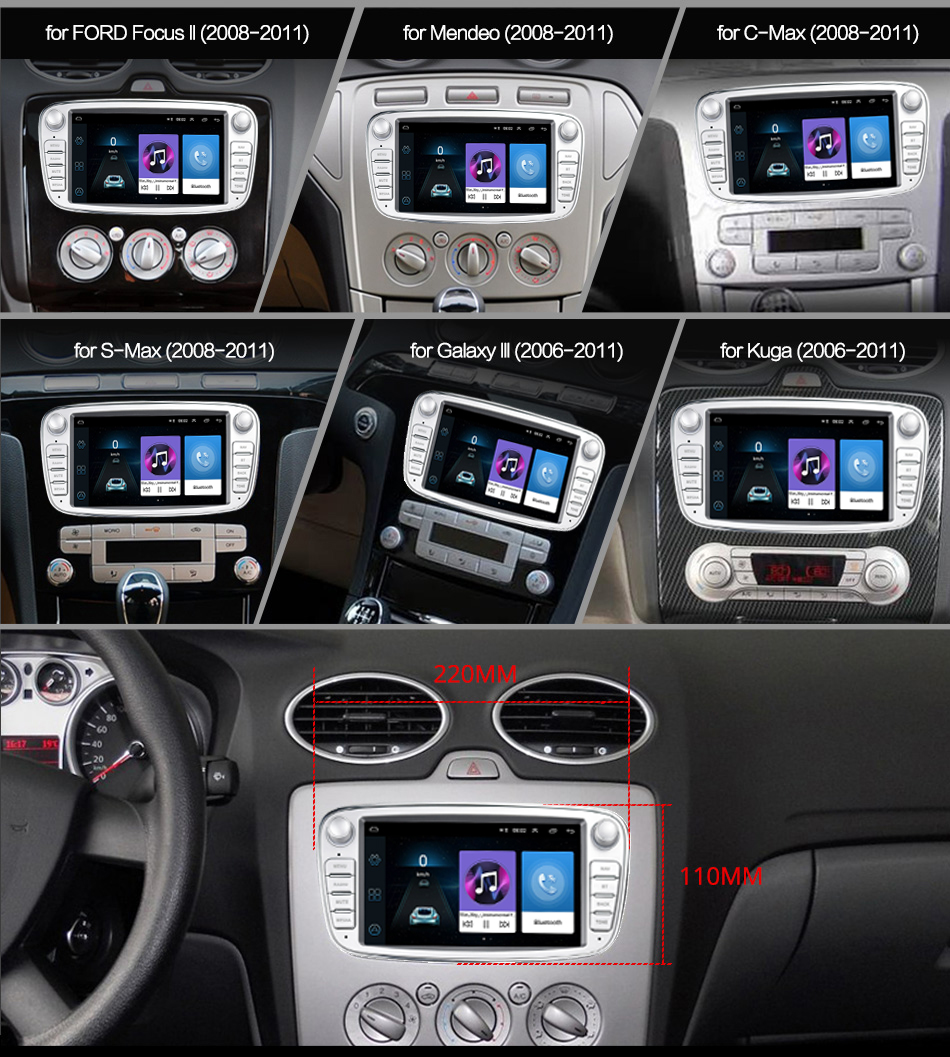 Podofo Android 8.1 GPS Car Radios 2 Din Car Multimedia player 7'' Audio DVD Player For FordFocusS-MaxMondeo 9GalaxyC-Max (9)
