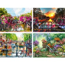 Cartoon Creek Daimond Painting Bike Landscape Full Drill 5d Diy Diamond Embroidery Flower Rhinestone Home Decor kids Gift A52