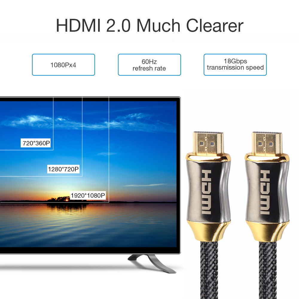 HDMI 2,0 Kabel 4K Ultra HD 60HZ Kabel trenzado para <font><b>proyector</b></font> HD <font><b>TV</b></font> Kabel Hdmi 2,0 High-festigkeit Geflochtene Nylon Kabel 1M 2M image