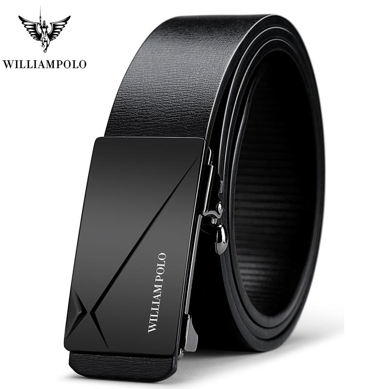 Williampolo Black Fashion Belt Adjustable Genuine Leather Gold Buckle Waistband