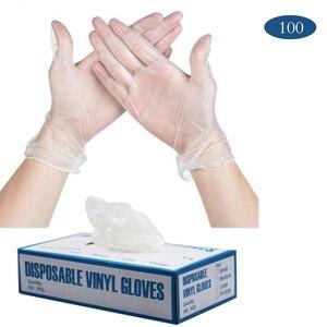 Image 1 - 100 Pcs Transparante Wegwerp Pvc Handschoenen Afwassen/Keuken/Latex/Rubber/Tuin Handschoenen Universele Voor Huis Schoonmaken