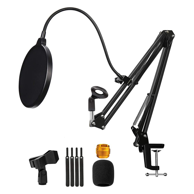 Microphone Stand with Blowout Preventer,Condenser Adjustable Mic Stand,Microphone with Arm Stand,Mic Clip,for Radio,Etc