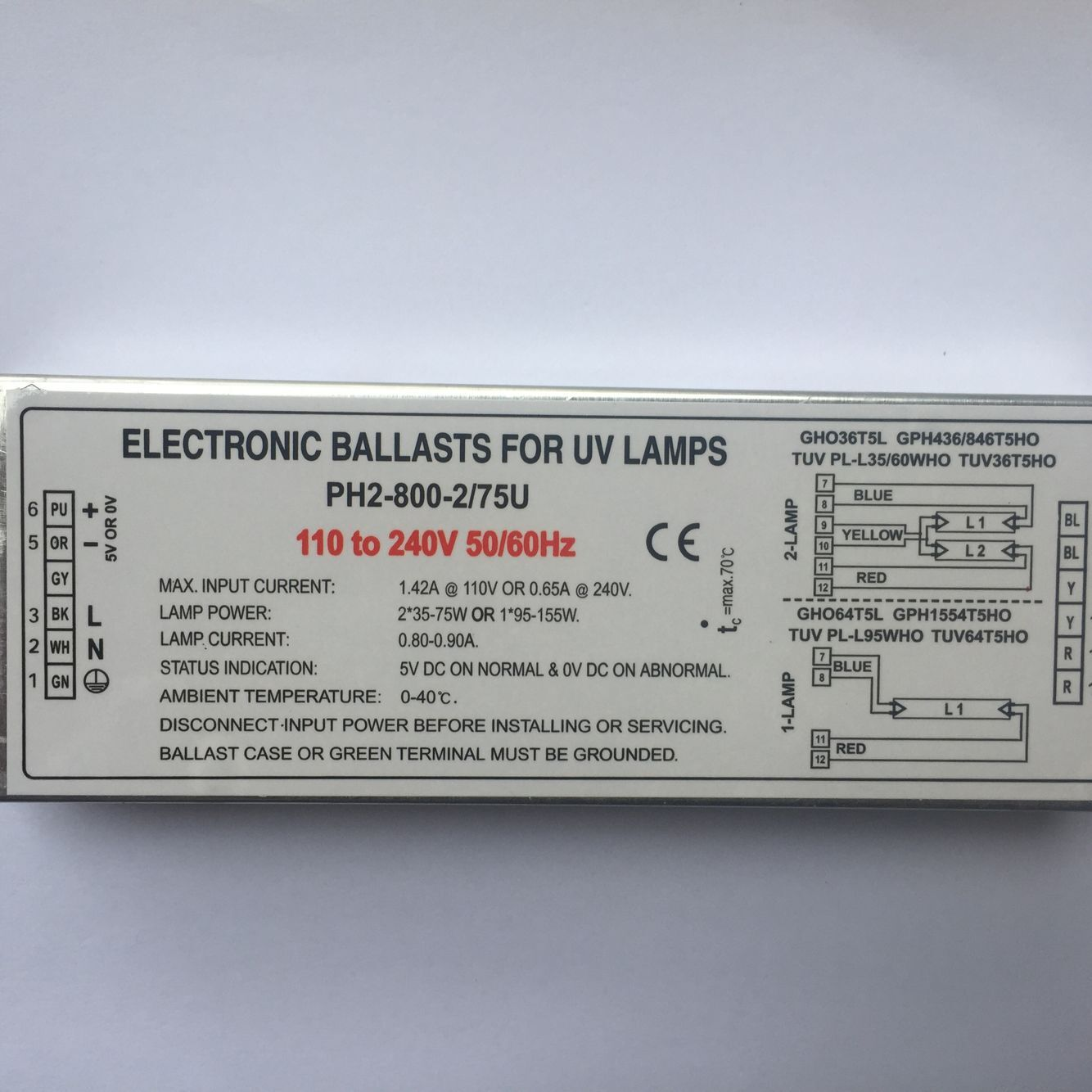 PH12-230-800-2/75 Germicidal Lamp Electronic Ballasts For UV Lamp GHO36T5L GPH436/846T5HO TUV PL-L35/60WHO TUV36T5HO