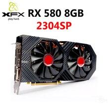 XFX RX 580 8GB 그래픽 카드 AMD RX500 시리즈 VGA 카드 용 256Bit GDDR5 비디오 카드 RX580 8GB HDMI DVI RX580 8GB 2304 중고