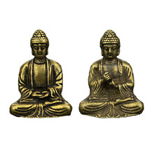 Mini Portatile Retro In Ottone Statua di Buddha Zen Tasca Buddha Seduto A Mano Giocattolo Scultura Home Office Desk Ornamento Decorativo Regalo(China)