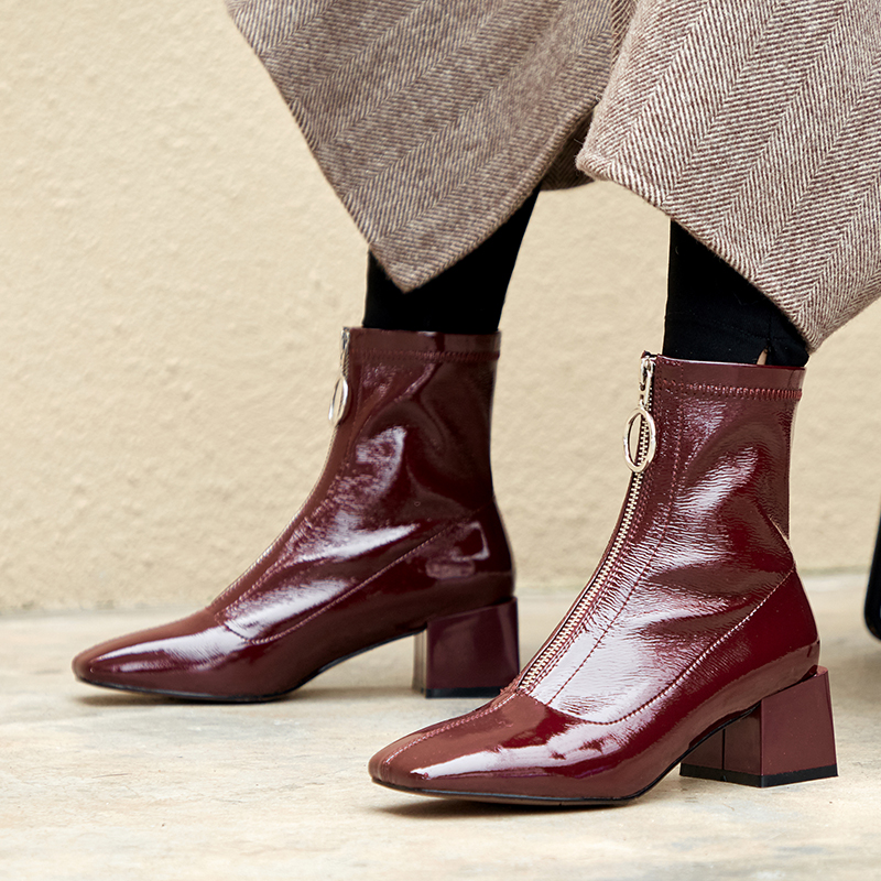 Vangull ins-Botines elásticos para mujer, botas cortas cuadradas a la moda, con plataforma y cremallera frontal, hechas a mano