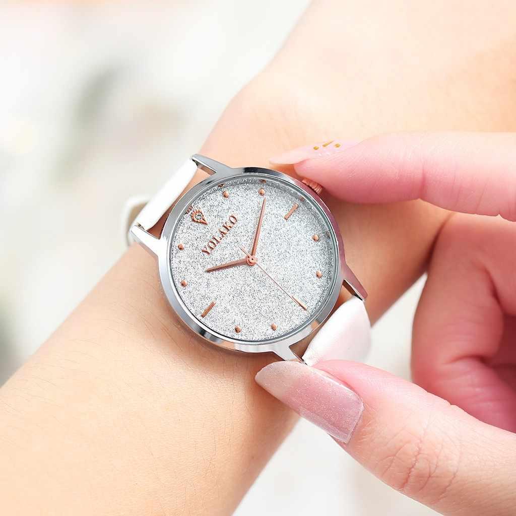 נשים קוורץ שעונים מתנה YOLAKO פשוט חלבית משובץ יהלומי חגורת שעון מתנת גבירותיי שעוני יד relojio mujer Relogio Feminino