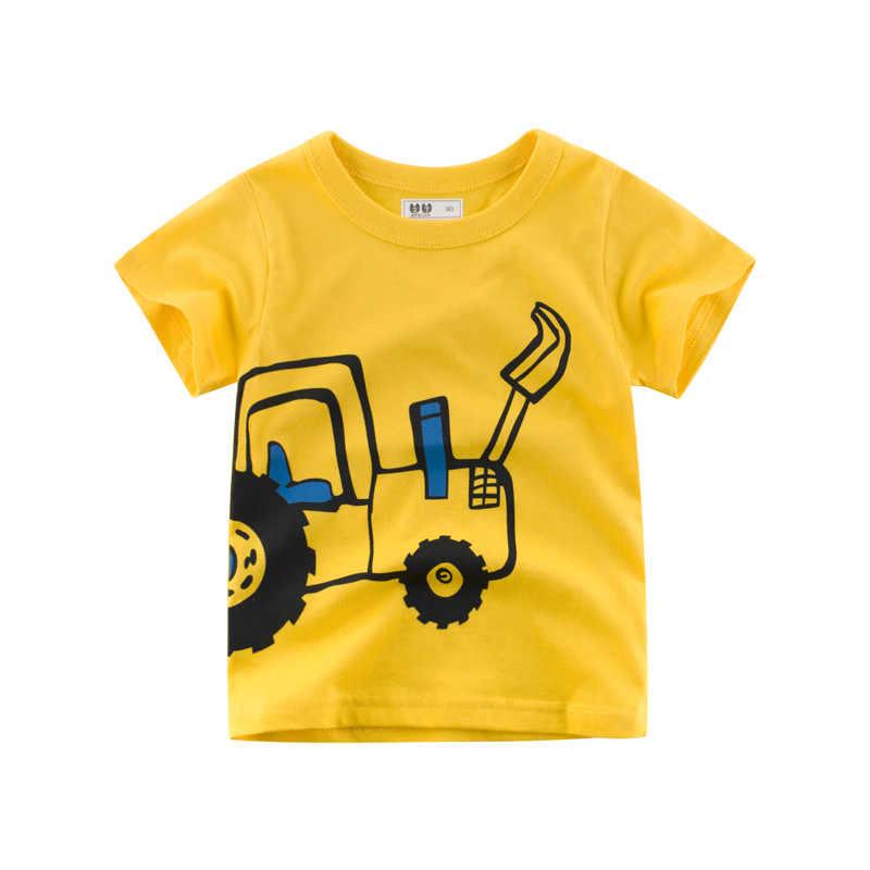 ילדים בני קיץ העליון קצר שרוול קריקטורה חמוד חופר דפוס אופנה טי 1-10T