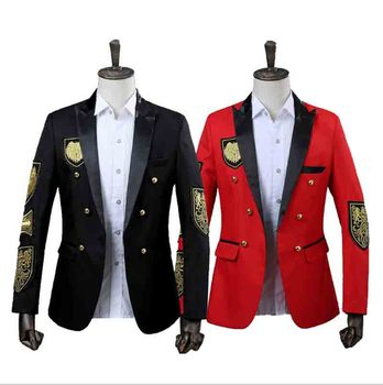 Fashion Men`s Jacket Coat Red Black Double Breasted Slim Fit Suit Male Carnival Costume Outfit Party Dress For Men Plus Size 2XL chinese tradtional costume men s cotton suit jacket coat size m 3xl