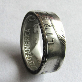 90% silver Franklin Silver Half Dollar Coin Ring Customized Dates Handmade In Sizes 7-12
