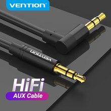 Vention aux cabo 3.5mm jack cabo de áudio 90 graus ângulo direito 3.5 aux cabo para fones de ouvido do carro xiaomi bate alto-falante mp4 aux cabo