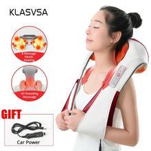 (with Gift Box) KLASVSA Electric Heating Neck Massager Car Home Infrared Kneadin