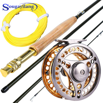 fly fishing rod 6 7 7 8 8 9 saltwater freshwater fly rod with a grade corkwood handle carp rod full aluminum reel seat Sougayilang 2.7m Fly Fishing Rod Combo Ultralight Portable Fly Rod and CNC-machined Aluminum Alloy 5/6 Fly Fishing Reel Line Kit