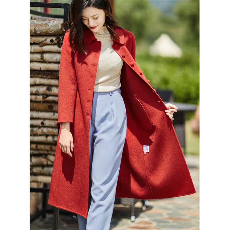 Hai mặt Cashmere Áo Khoác Len Nữ Dài Áo Khoác Mùa Đông 2019 Thời Trang phổ biến Tính Khí len quần áo Hàn Quốc W183