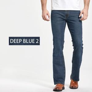 Image 2 - Mens Boot Cut Jeans Slightly Flared Slim Fit Famous Brand Blue Black jeans Designer Classic Male Stretch Denim jeans