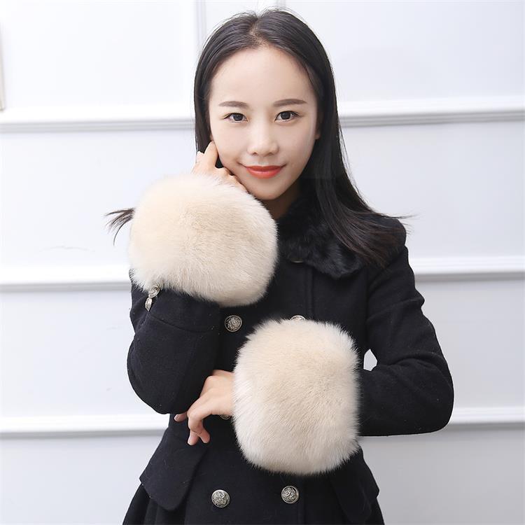 Winter Faux Fur Oversleeve For Women Plush Wristband Elastic Cuffs Fashion Arm Warmer Fake Fur Hand Ring Windproof Sleeve Gloves