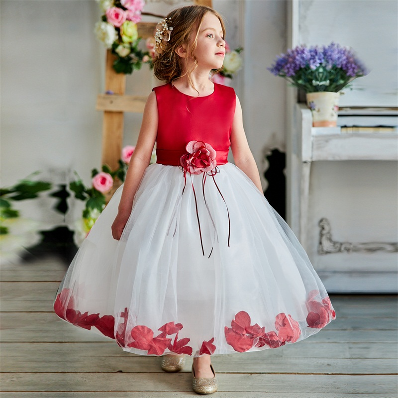 Kids Flowers Ribbons Dresses for Girls Tulle Gown Robe Ceremonie Fille Mariage Enfant Vestido Infantil for Girls Christmas Dress 1