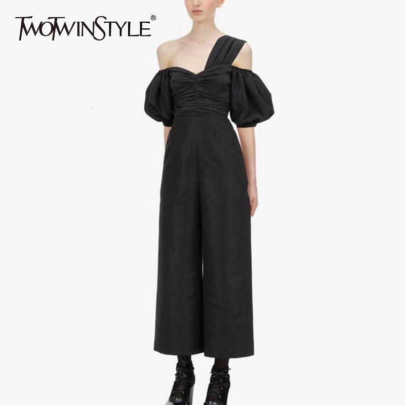 TWOTWINSTYLE Ankle-Length Jumpsuit Female Asymmetrical Collar Lantern Half Sleeve High Waist Ruched Jumpsuits Women Clothing New