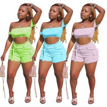 Summer Women Two Piece Outfits Sexy 2 Piece Set Slash Neck Strapless Top+shorts Solid Color Streetwear Wholesale Dropshipping black solid color swimwears two piece outfits