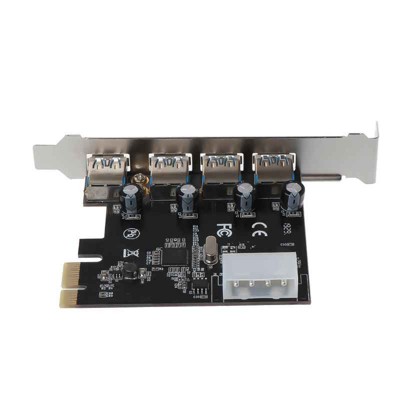 Rodalind 4Port PCI-E to USB 3.0 HUB PCI Express Expansion Card Adapter 5 Gbps Speed Top