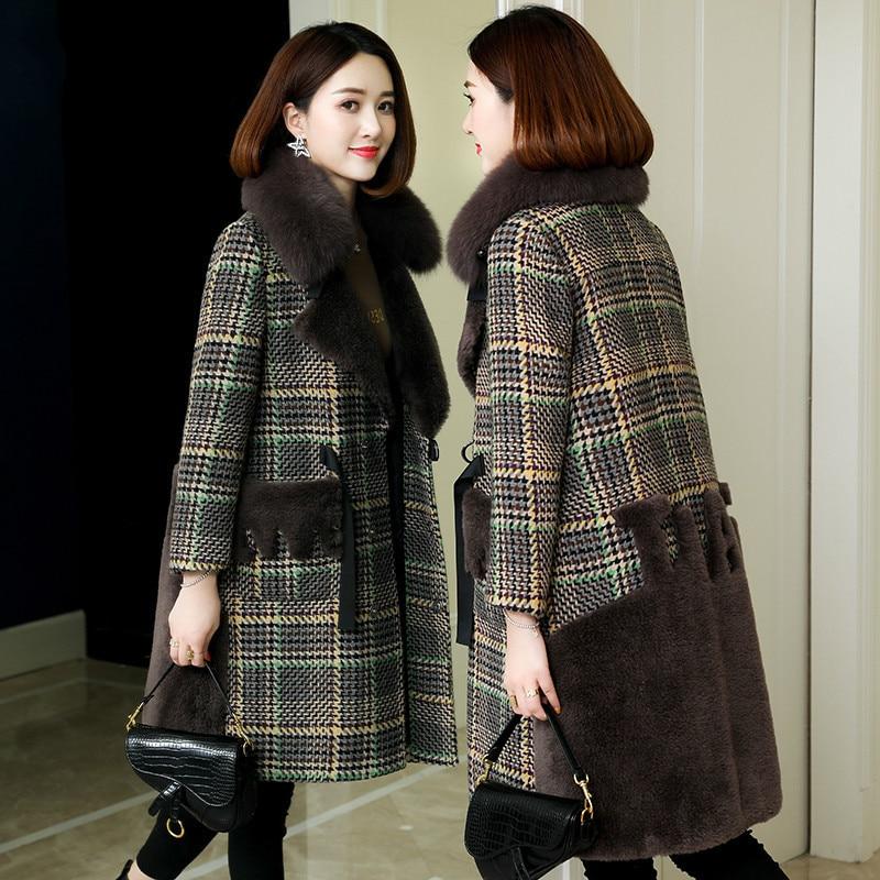 Real Fur Coat Fox Fur Hooded Wool Jacket Autumn Winter Coat Women Clothes 2020 Korean Vintage Sheep Shearling Thick Tops ZT3908