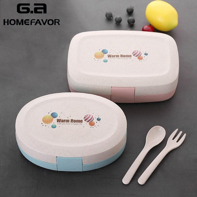 Boîte à Lunch pour enfants blé paille Bento boîte école étudiant nourriture conteneur micro-ondes étanche boîte de rangement cuisine bureau Snack boîte