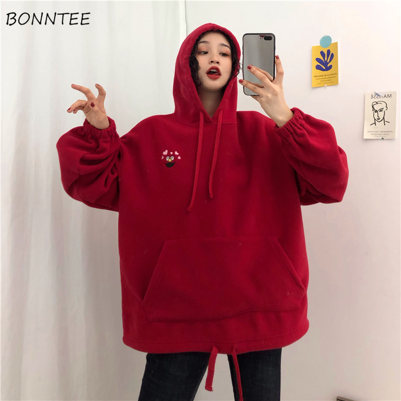 Hoodies Women Retro Hooded Solid Cartoon Embroidered Thicker Plus Velvet Loose Pocket Womens Hoodie Leisure Trendy Chic Students