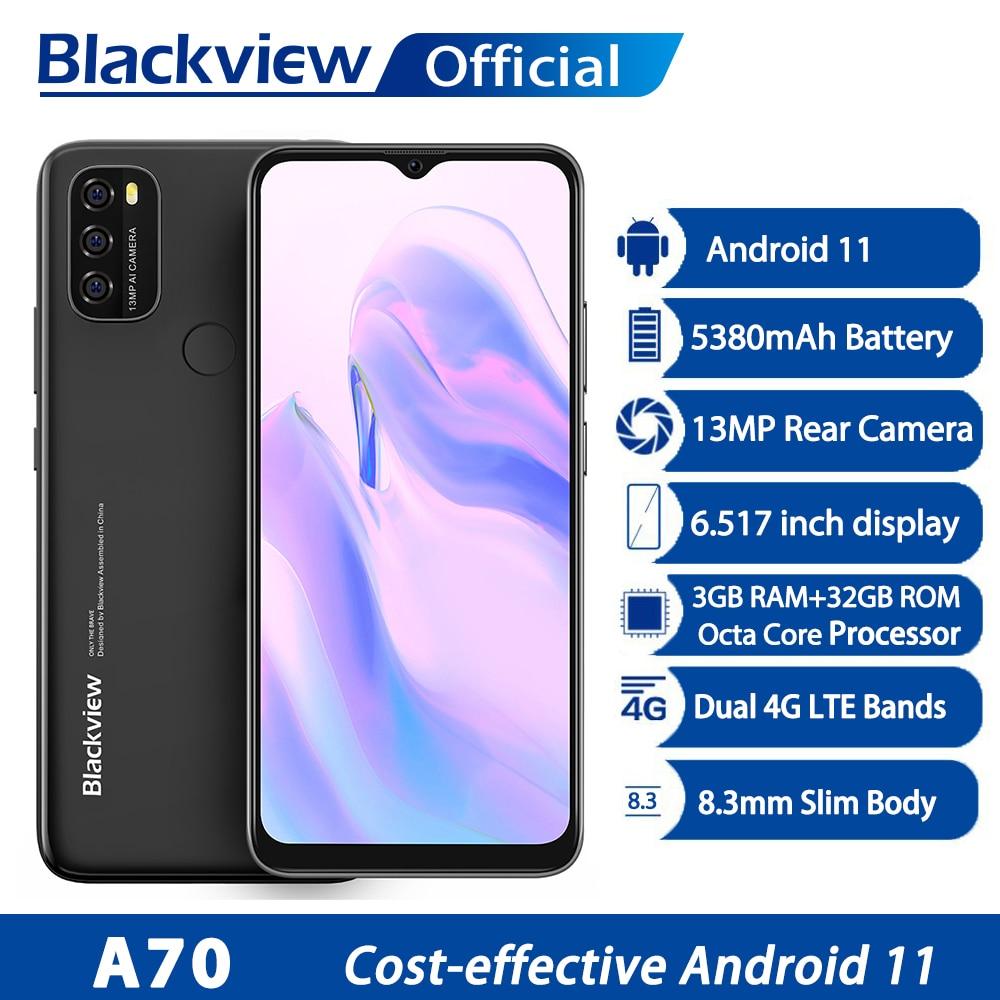 Blackview A70 Android 11 Smartphone 6,517 Zoll Display Octa Core 3GB RAM + 32GB ROM 5380mAh13MP Hinten Kamera 4G Handy