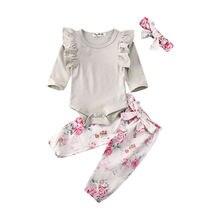 Комплекты одежды для маленьких девочек 0-24 месяцев, хлопковый комбинезон, топы, штаны с цветочным принтом, штаны и повязка на голову, одежда для 0-24 месяцев
