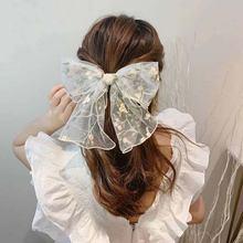 Бант галстук для волос большого размера сетчатые заколки с вышивкой