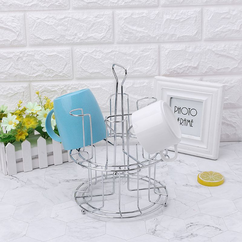 Stylish Mug Tree Iron Holder Coffee Cups Drain Organizer 6 Racks Stand Bottle Dish Drying Kitchen Living Room Accessory