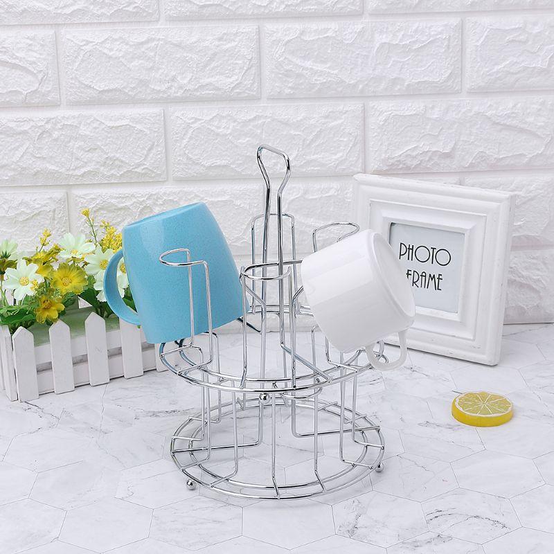 Stylish Mug Tree Iron Holder Coffee Cups Drain Organizer 6 Racks Stand Bottle Dish Drying Kitchen Living Room Accessory