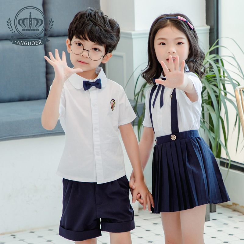 Kindergarten Suit Summer New Style Suspender Strap Shirt Set Young STUDENT'S Daily Life School Uniform British-Style Two-Piece S