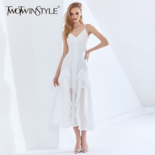TWOTWINSTYLE Sexy Mesh Ruffle Dress For Female V Neck Sleeveless High Waist Slip Party Dresses Female Womens Clothing 2021 New